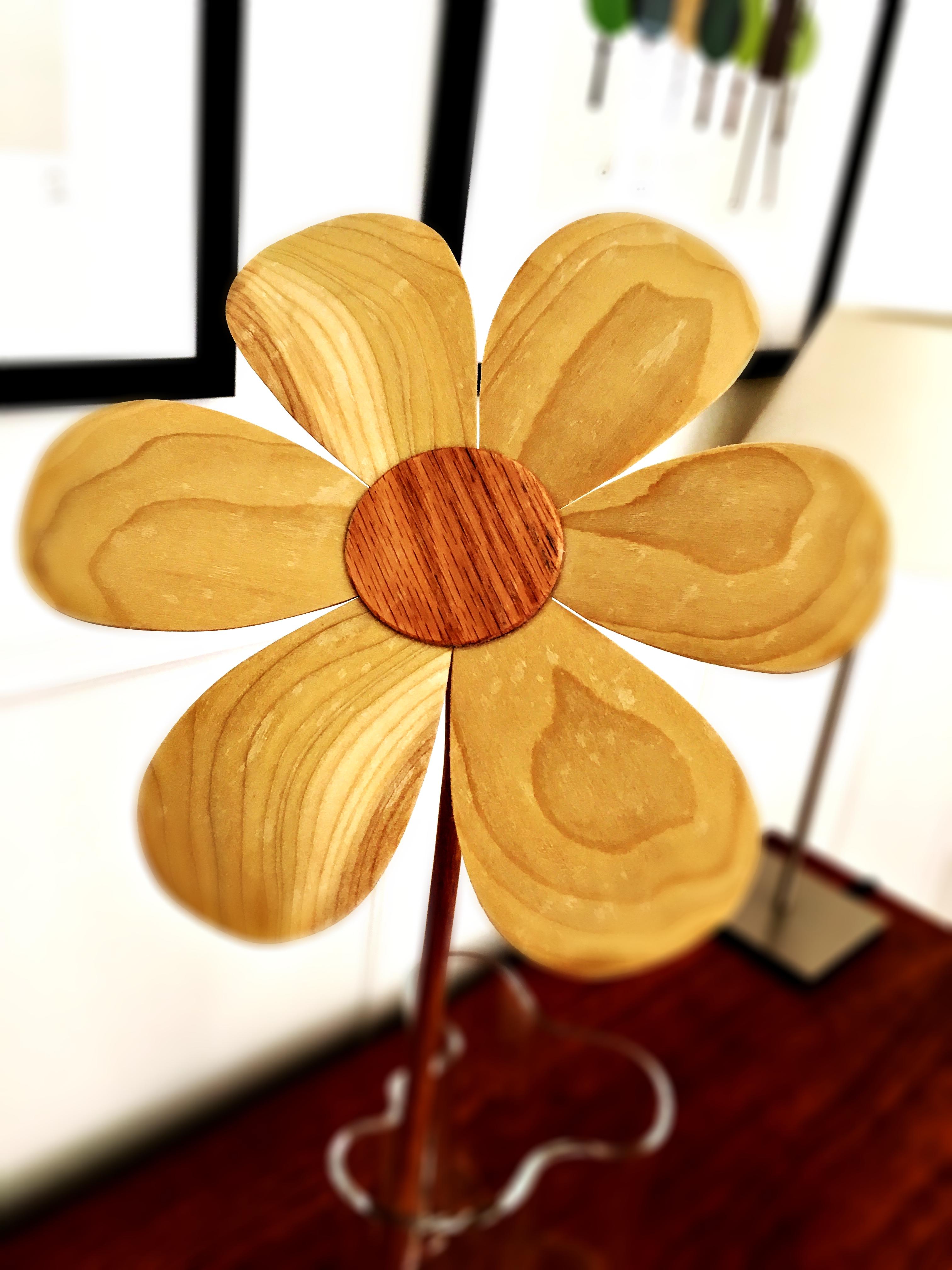 puidust lill, karikakar, meene, kingitus, puitdisain, käsitöö